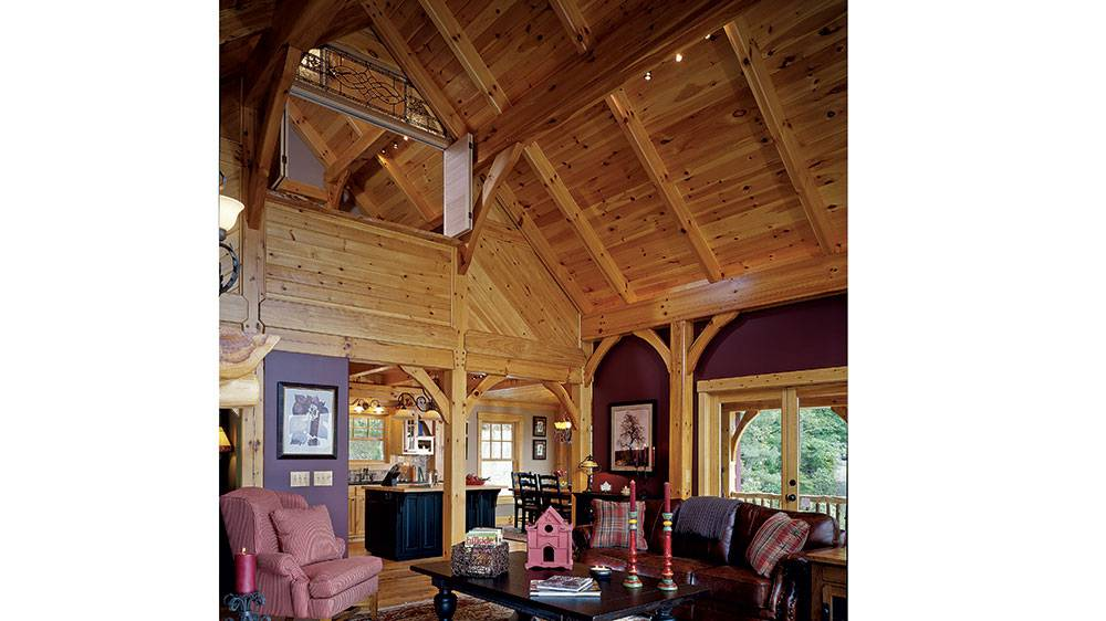 timber frame cabin home open loft mountains