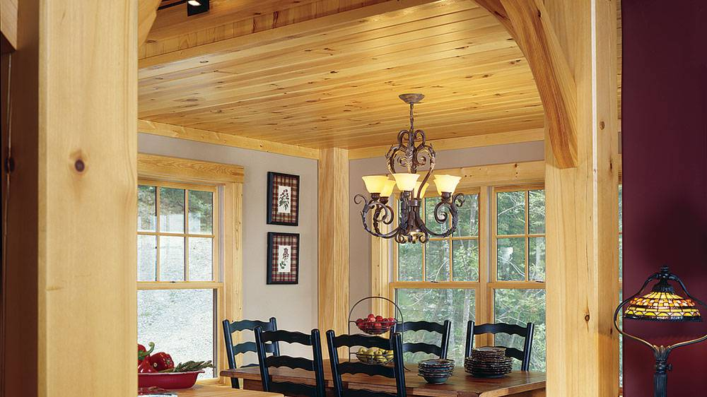 timber frame home mountains dining room