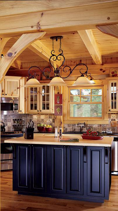 timber frame cabin kitchen mountains