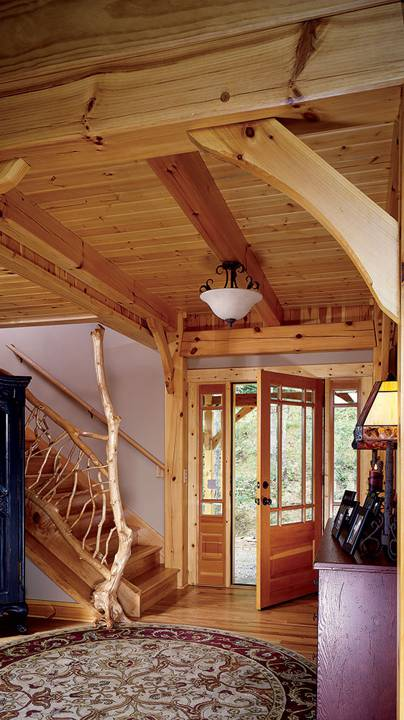 foyer timber frame cabin house mountains purple