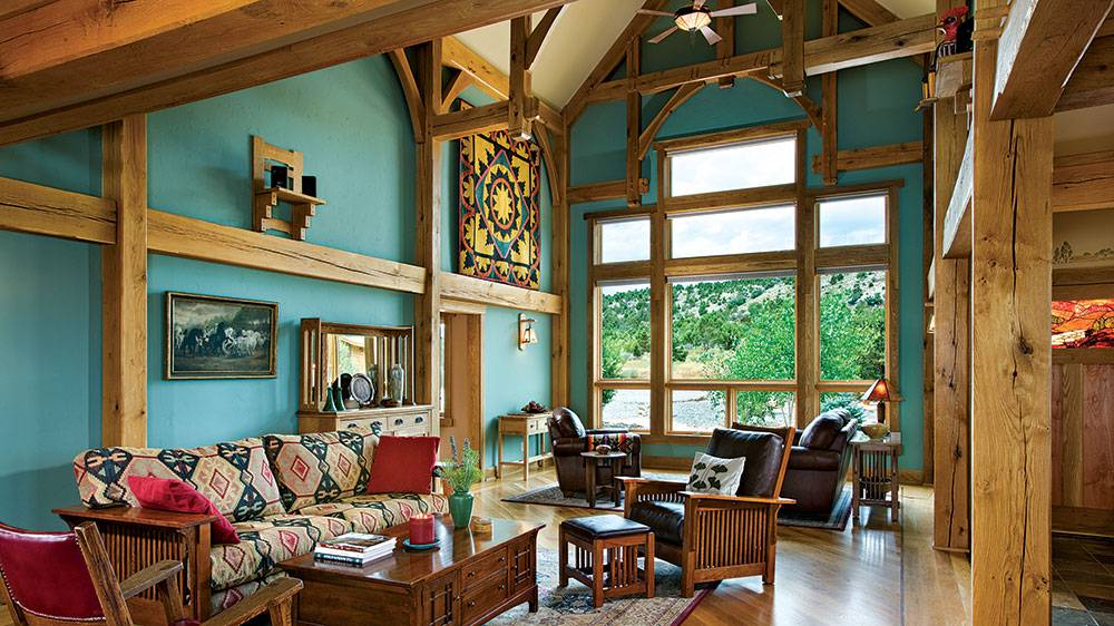 timber frame mountains colorado great room