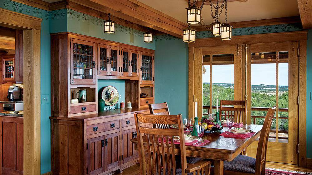 timber frame dining room mountains colorado