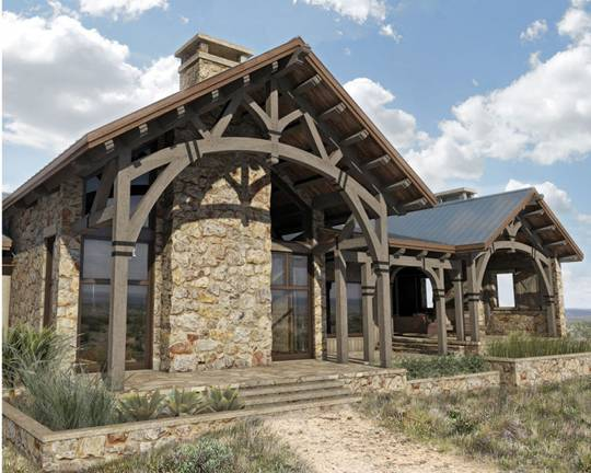 hill country ranch timber home floor plan from Colorado Timberframe