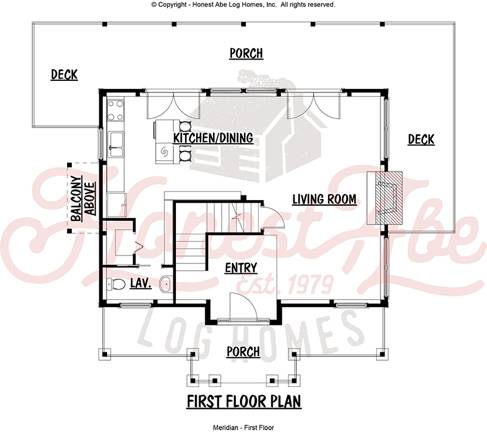 meridian log home floor plan by Honest Abe