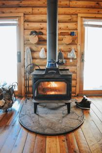 Log Cabin Wyoming Fireplace